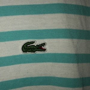 Lacoste Tops - Lacoste light blue & white stripped shirt size 6